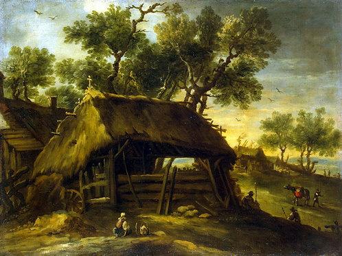 Кастильо, Антонио дель - Пейзаж с хижин, 30х40 см.