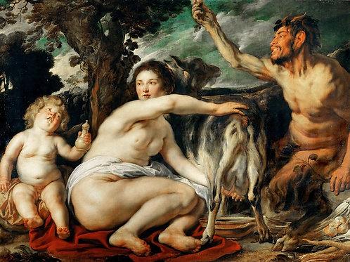 Йорданс, Кормление Зевса молоком Амалтеи 30х40 см.