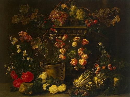 Фейт, Ян - Натюрморт с цветами, фруктам, 30х40 см.