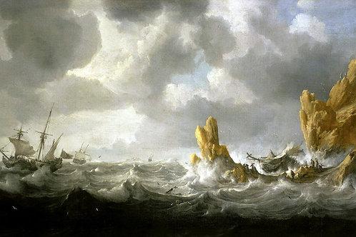 Петерс, Ян - Бурное море,30х40 см.