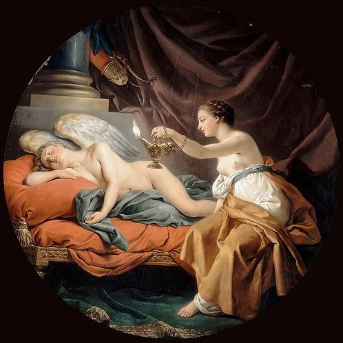 Лагрене,  Психея будит спящего Амура 30х40 см.