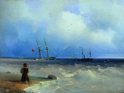 Морской берег. 1840, 30х40 см.