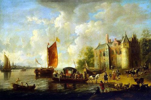 Вельде, Замок на берегу реки, 30х40 см.