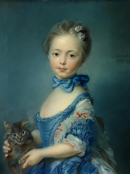 Жан-Батист Перроно - Девочка с котенком, 30х40 см.