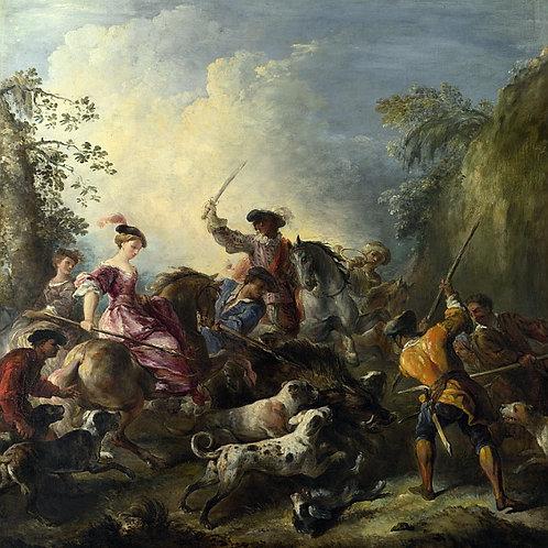 Жозеф Парросель - Кабанья охота, 30х40 см.