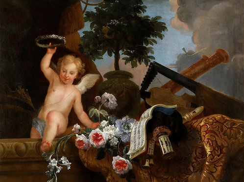 Дамуазель,  Купидон с атрибутами искусств30х40 см.