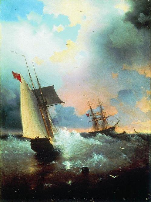Парусник. 1859, 30х40 см.