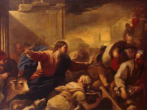 Джордано, Изгнание торгующих из храма, 30х40 см.
