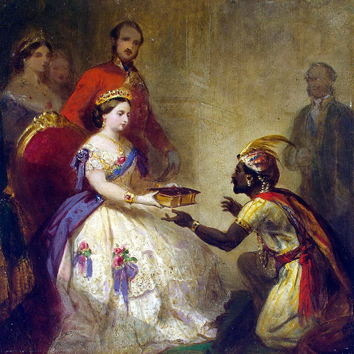 Баркер, Королева Виктория вручает Библию 30х40 см.