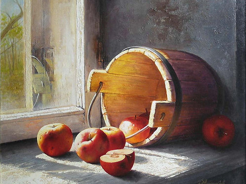 Ведро с яблоками,  30х40