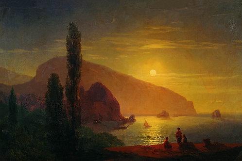 Ночь в Крыму. Вид на Аю-Даг.1850, 30х40 см.