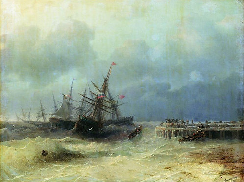 Спасающиеся от бури. 1872, 30х40 см.