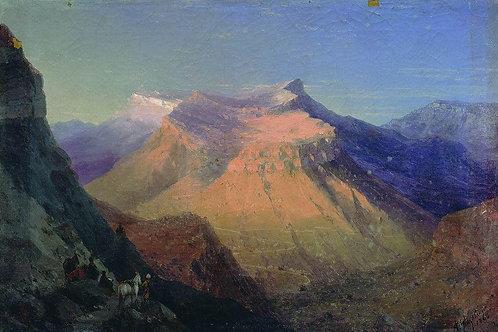 Вид Гуниба. 1868, 30х40 см.