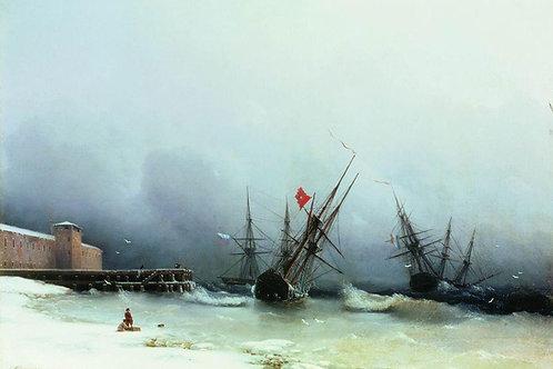 Сигнал бури. 1851, 30х40 см.