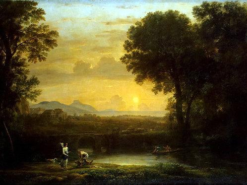 Желле, Клод - Пейзаж с Товием и ангелом, 30х40 см.
