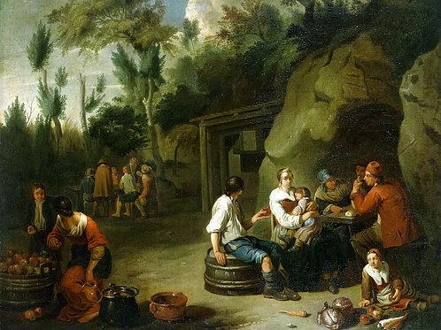 Блумен, Крестьянская семья за столом, 30х40 см.