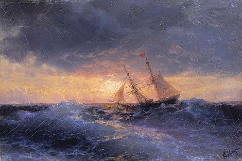 Море. Закат. 1896, 30х40 см.