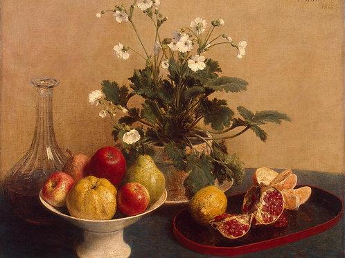 Фантен-Латур, Анри - Цветы, ваза с фрук, 30х40 см.