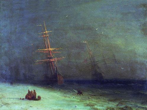 Буря на Северном море. 1875, 30х40 см.