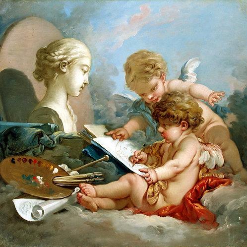 Буше, Амуры - аллегория живописи, 30х40 см.