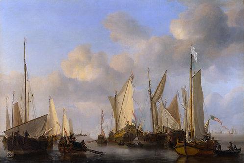 Виллем ван де Вельде - Салютующая голла, 30х40 см.