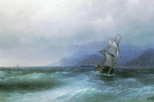 Парусник в море. 1884, 3х40 см.