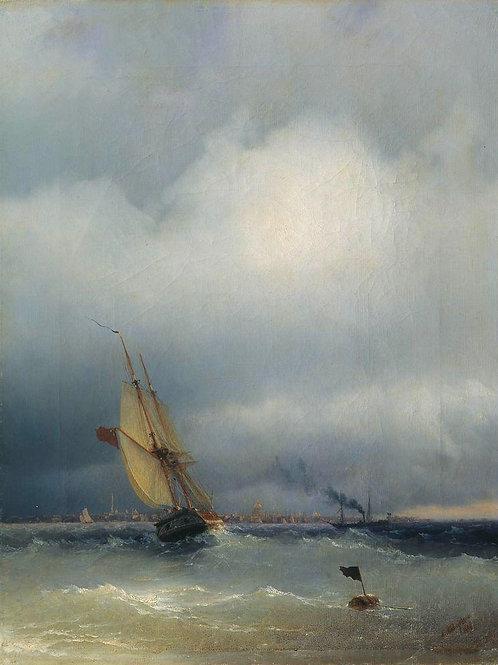 Финский залив. 1848, 30х40 см.