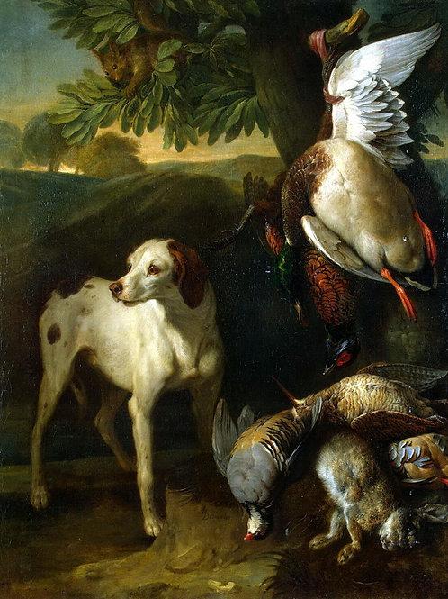 Депорт, Франсуа - Собака и дичь, 30х40 см.