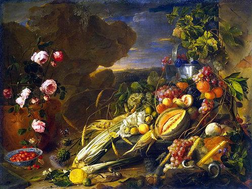 Хем, Ян Давидс де - Плоды и ваза с цве,  30х40 см.