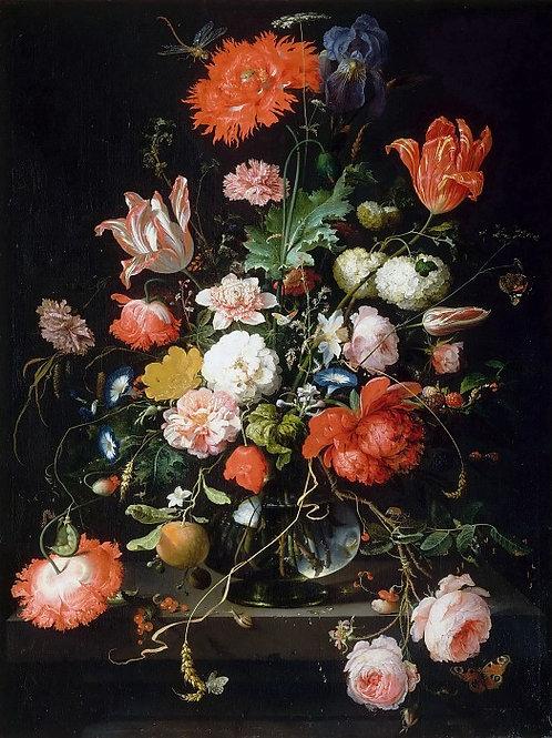 Миньон,  Цветы в стеклянной вазе на каме 30х40 см.