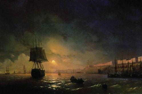 Вид Одессы в лунную ночь. 1846, 30х40 см.