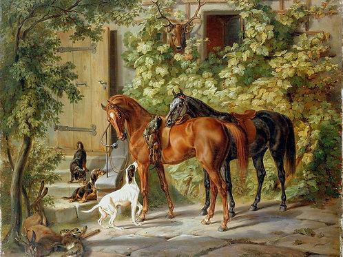 Адам, Альбрехт - Лошади у крыльца (1843, 30х40 см.