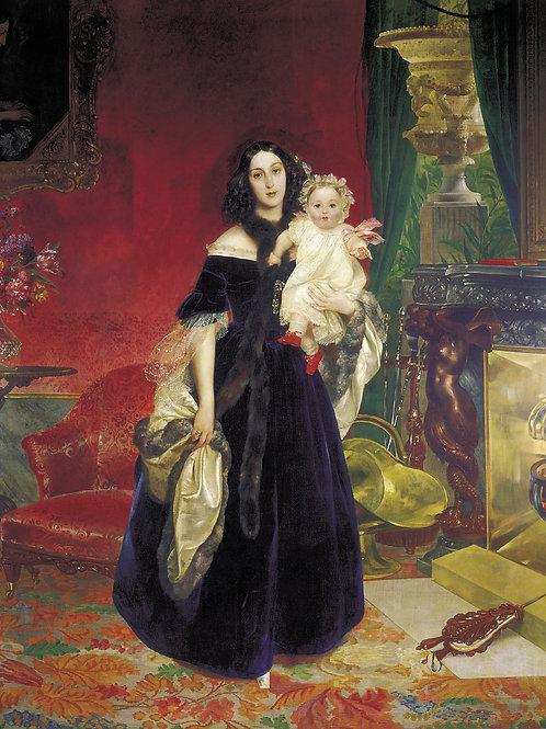 Портрет Марии Аркадьевны Бек с дочерью.  30х40 см.