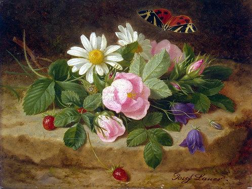 Лаунер, Иозеф - Букет цветов с бабочкой, 30х40 см.