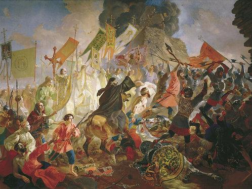Осада Пскова польским королём Стефаном, 30х40 см.
