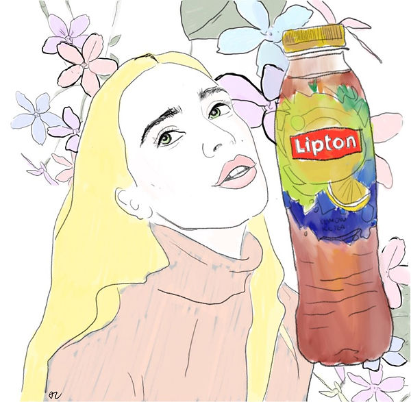Akvile Les art collaboration with Lipton