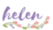 purple cursive 'helen' signature, with a floral flourish below in green, purple, and pink