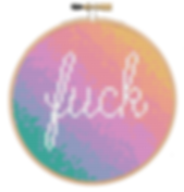 Mini pastel fuck cross stitch in a bamboo embroidery hoop