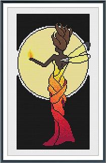 Nouveau Fire Fairy black brunette framed