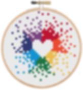 Mini rainbow heart cross stitch in a bamboo embroidery hoop