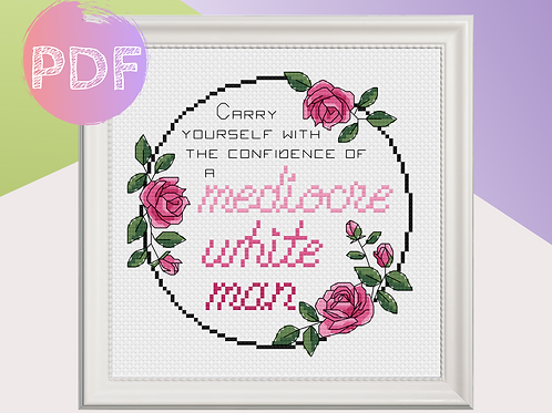 Mediocre White Man Wreath Cross Stitch PDF Pattern