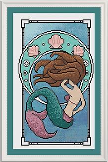Nouveau Mermaid white brunette framed.PN