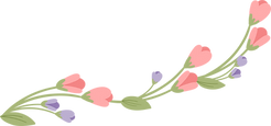 floral flourish in green, purple, and pink