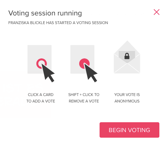 "Screenshot zum INformationsfenster ""Voting session running"""