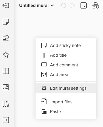 Screenshot von Mural Board mit Hinweis auf Edit mural settings