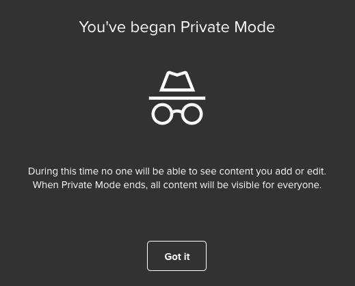 Screenshot von Bestätigung der Aktivierung des Private Mode