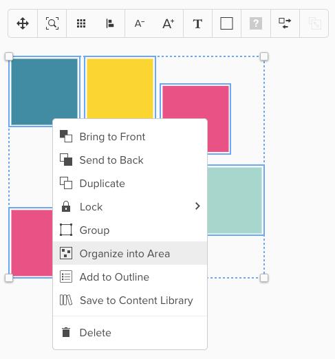 Screenshot von makierten Elementen und ausgeklappten Menü mit Hinweis auf Organize into Area