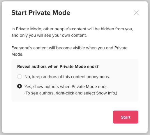 Screenshot von Info-Fenster Start Private Mode