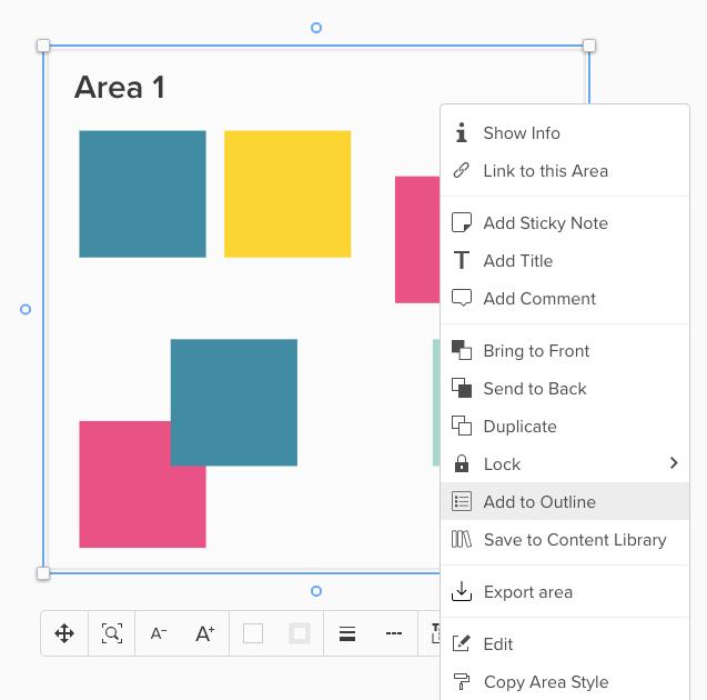 Screenshot von markierter Area mit ausgeklappten Menü und Hinweis auf Add to Outline