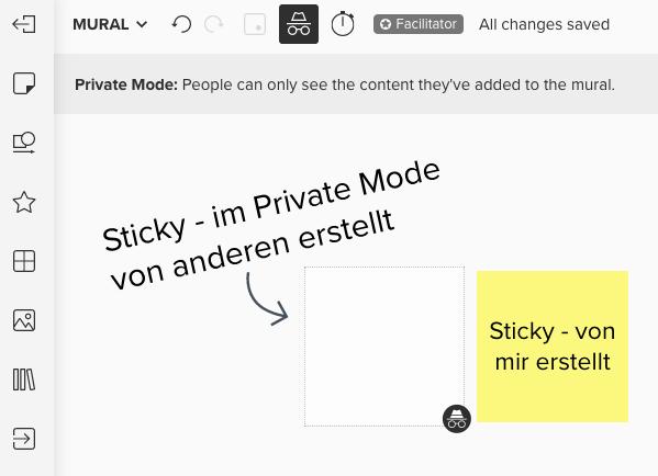 Screenshot von Mural Board mit Sticky welches im Private Mode erstellt wird